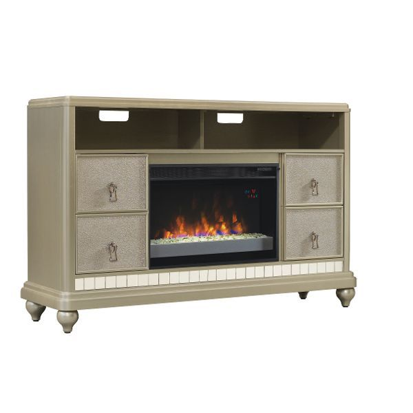 Metallic Silver Tv Stand And Fireplace Diva Silver Tv Stand