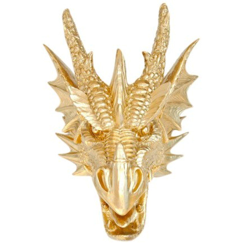 Near and Deer Faux Taxidermy Dragon Head Wall Mount, Metallic Gold ...