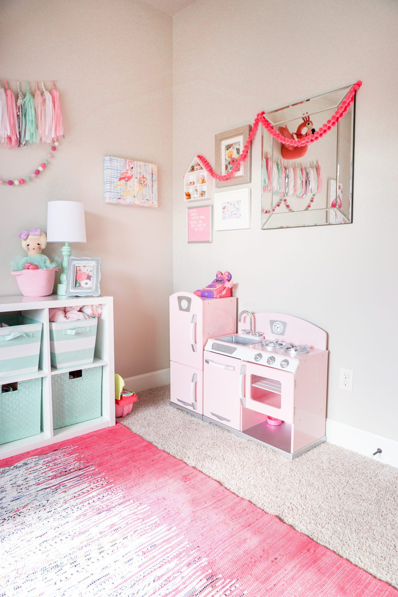 Pink And Mint Girls Playroom Tour Baby Z Playroom Little Girls | Kid Room Decor, Girls Playroom, Toddler Rooms