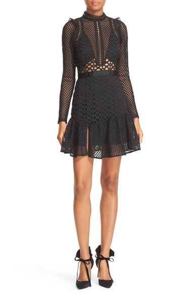 Self-Portrait Hall Lace Mesh Minidress available at #Nordstrom