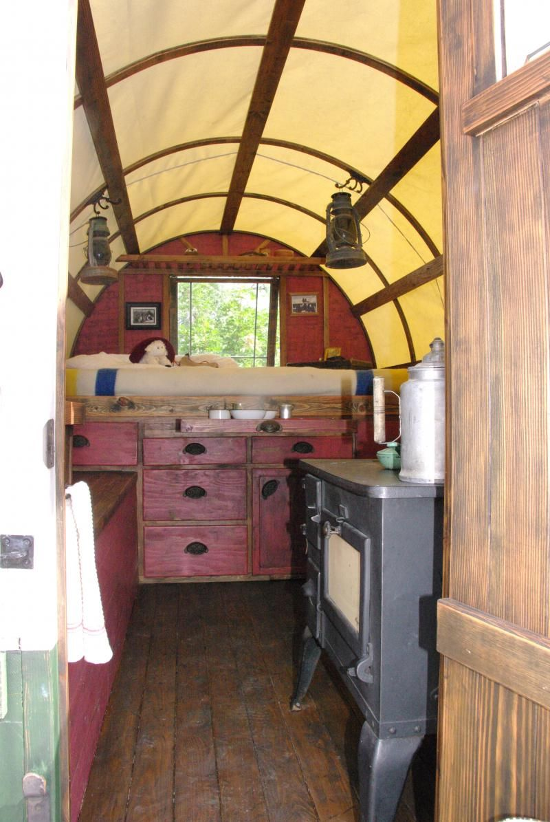 enter thru these dutch doors to the inside of sheep wagon Camper
