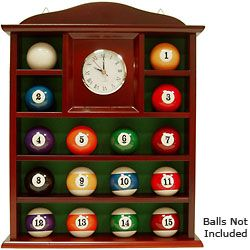 Billiard Ball Holder Quartz Clock Wooden Shelf Wood Wall Clock Billiards Wooden Shelves