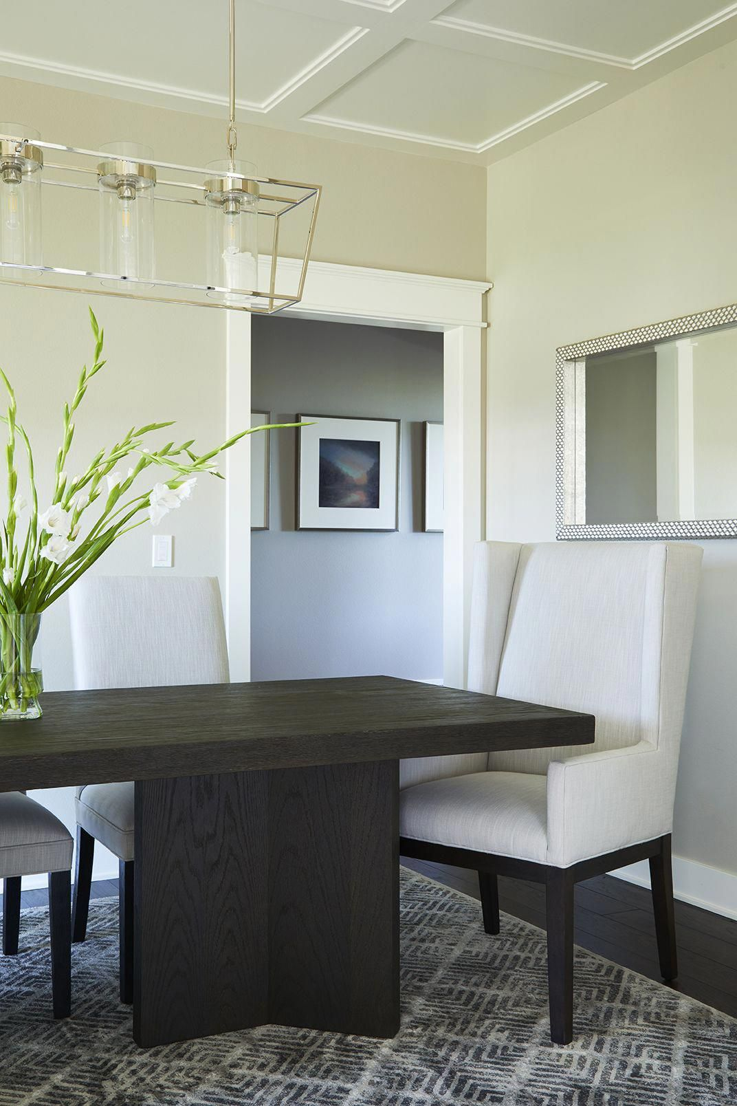 Transitional Dining Room Design By Jillian Lare Interior Des Moines Iowa Painted Benjamin Moore Revere Pewter Diningroomdecor Interiordesign