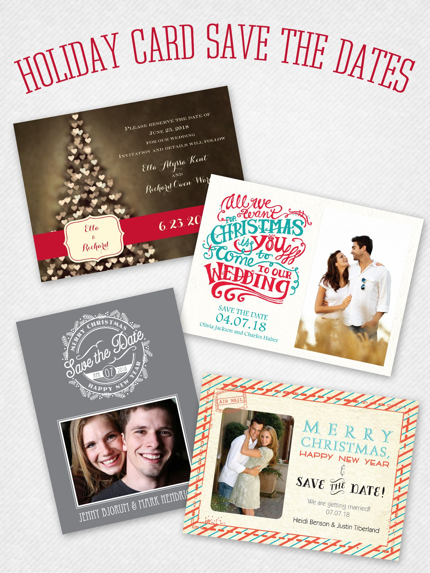 tie the knot wedding invitations etsy%0A save the date   holiday card in one cute little package