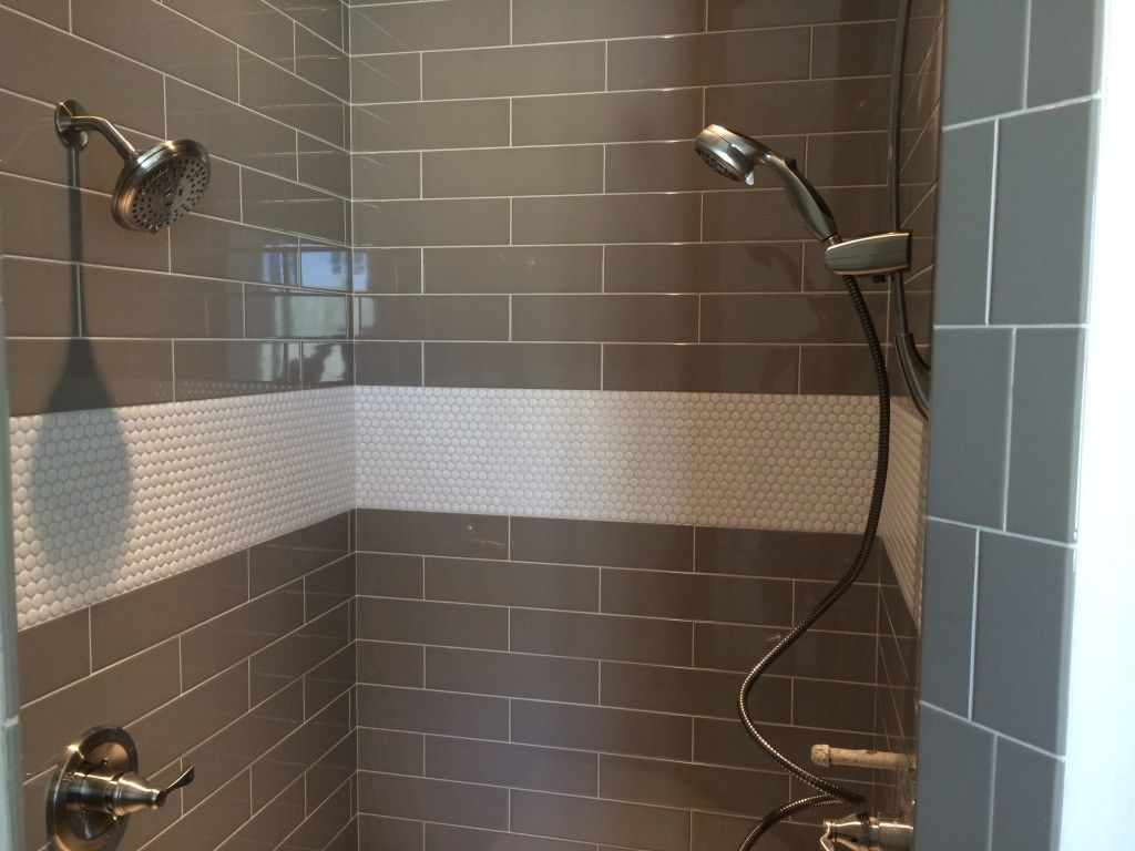 Master Shower Tile Ideas penny tile and large grey brick lay | House ...