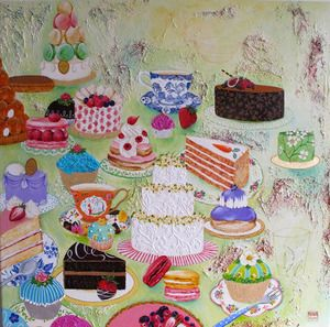 Cakes and treats in a painting by Chris Chun <3