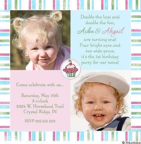 1st Birthday Twin invite Kid Birthday Ideas Pinterest Twins - invitation card for ist birthday