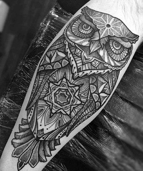125 Best Owl Tattoos For Men Cool Designs Ideas 2020 Guide Geometric Owl Tattoo Mens Owl Tattoo Owl Tattoo Design