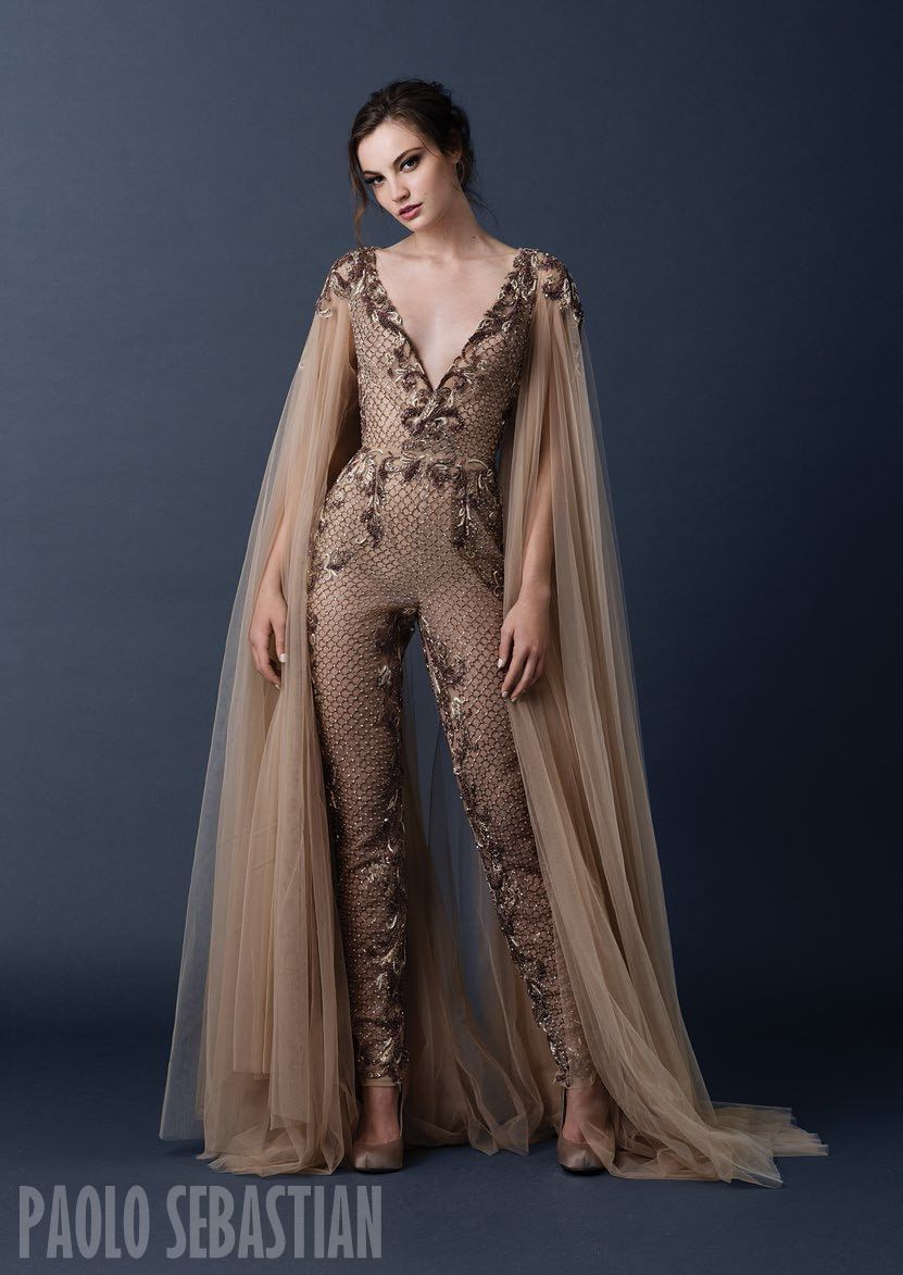 PSAW1507 Wing sleeved jumpsuit with metallic beadwork and embroideries