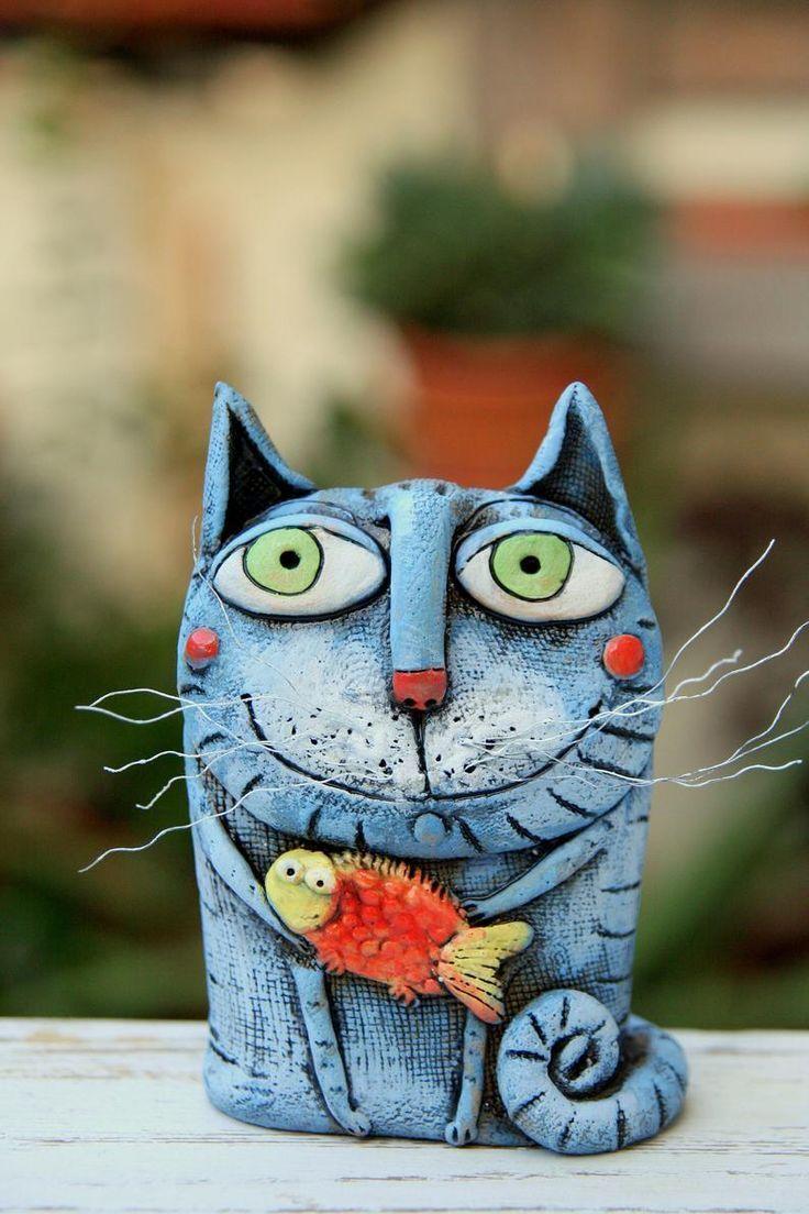 Pottery cat handmade, Handmade Ceramic, Cat Figurine, Cat