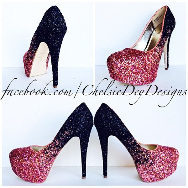 black high heels with glitter