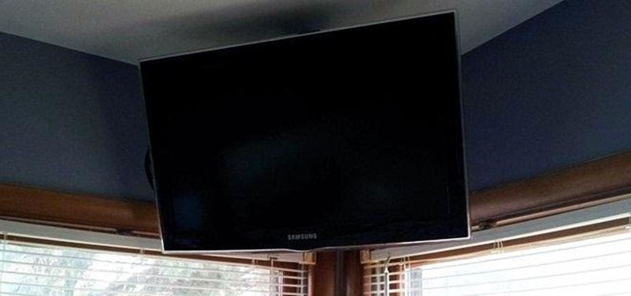 how to build a simple flat screen tv ceiling mount from unistrut and pipe how to be a. Black Bedroom Furniture Sets. Home Design Ideas