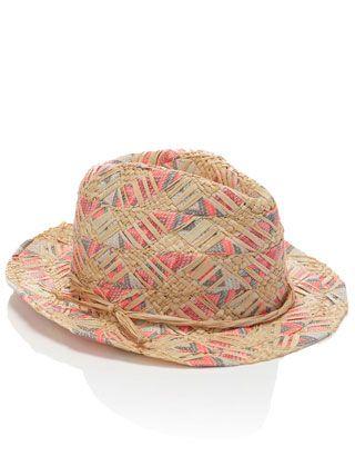 0995cf50f1 Neon Ribbon Weave Detail Trilby Hat