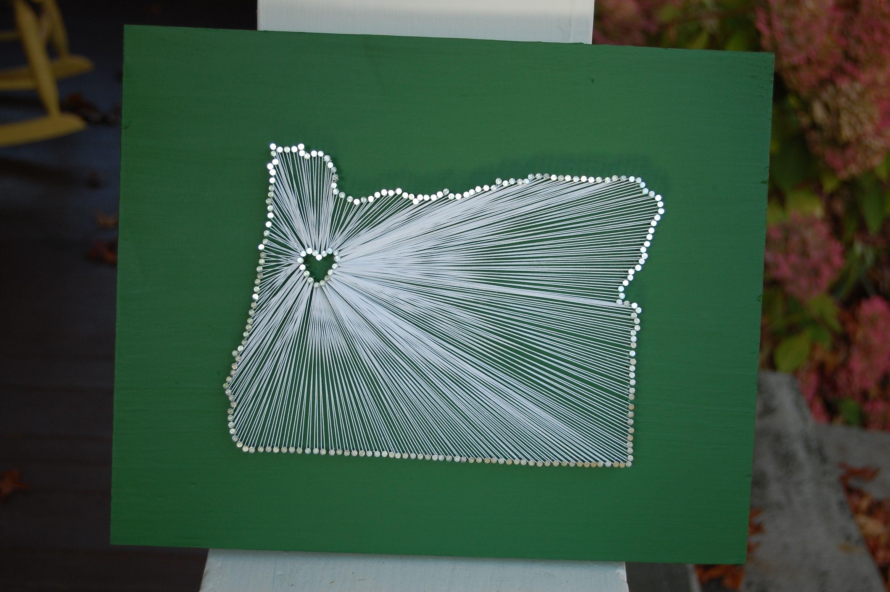 Pinterest Challenge: DIY State art | Nail string art, Nail string ...