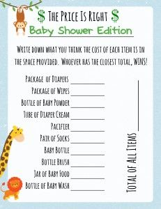 photo relating to The Price is Right Baby Shower Game Free Printable referred to as Jungle Concept Little one Shower Printable Online games Child Shower
