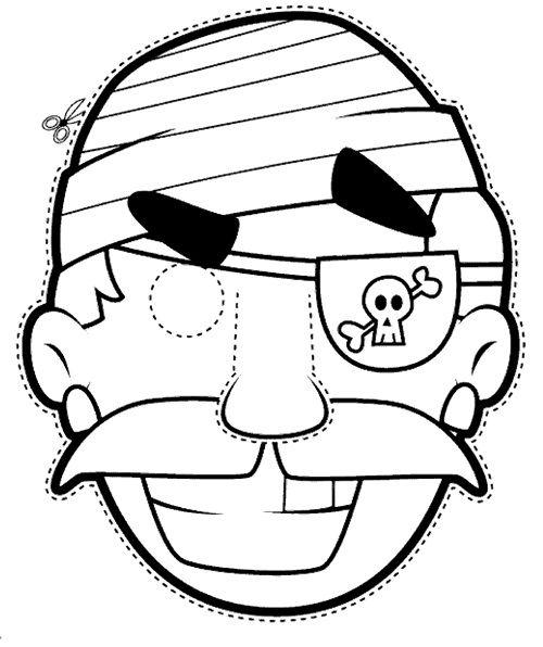 Máscara Pirata para imprimir y colorear | Kirigami/ Paper Toy ...