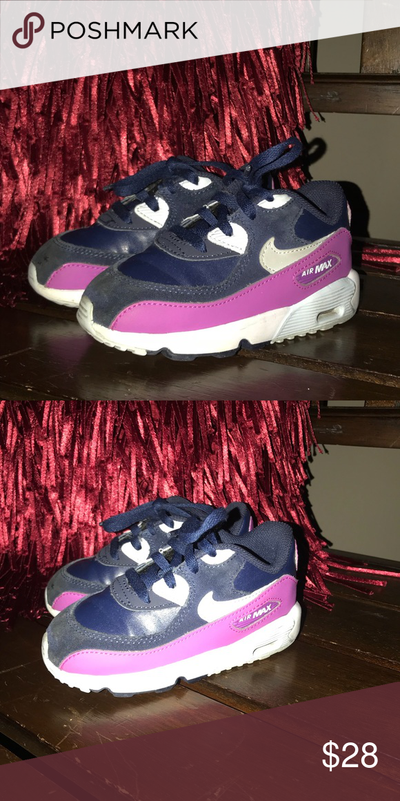 sports shoes 1a82d db372 Toddler Nike Air Max 90 Blue Purple Silver Toddlers Nike Air Max 90 -  Gently used but kids will be kids, they aren t perfect. 😌 Nike Shoes  Sneakers