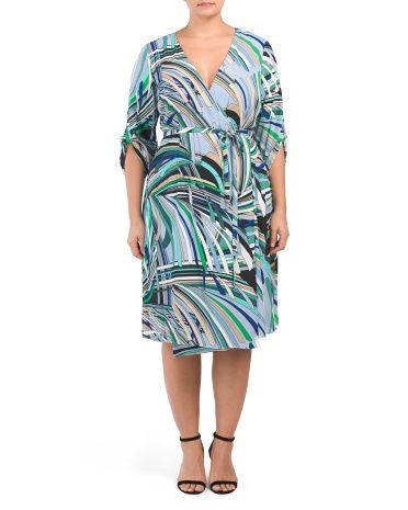 ab39407b5d03 Plus Abstract Striped Wrap Dress - Plus Dresses - T.J.Maxx ...