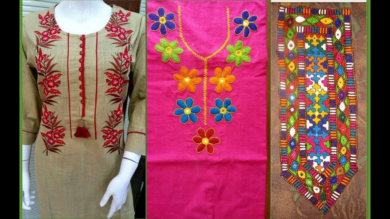 Neck embroidery designs for suit/kurti embroidery neck design ideas ...