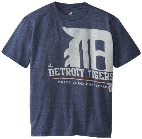 MLB Detroit Tigers Youth Submariner T-Shirt, Navy Heather, Large