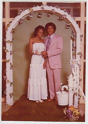 Small VINTAGE 70s PHOTO Young Black COUPLE Teen Gal & Guy w/ Afro PROM PORTRAIT