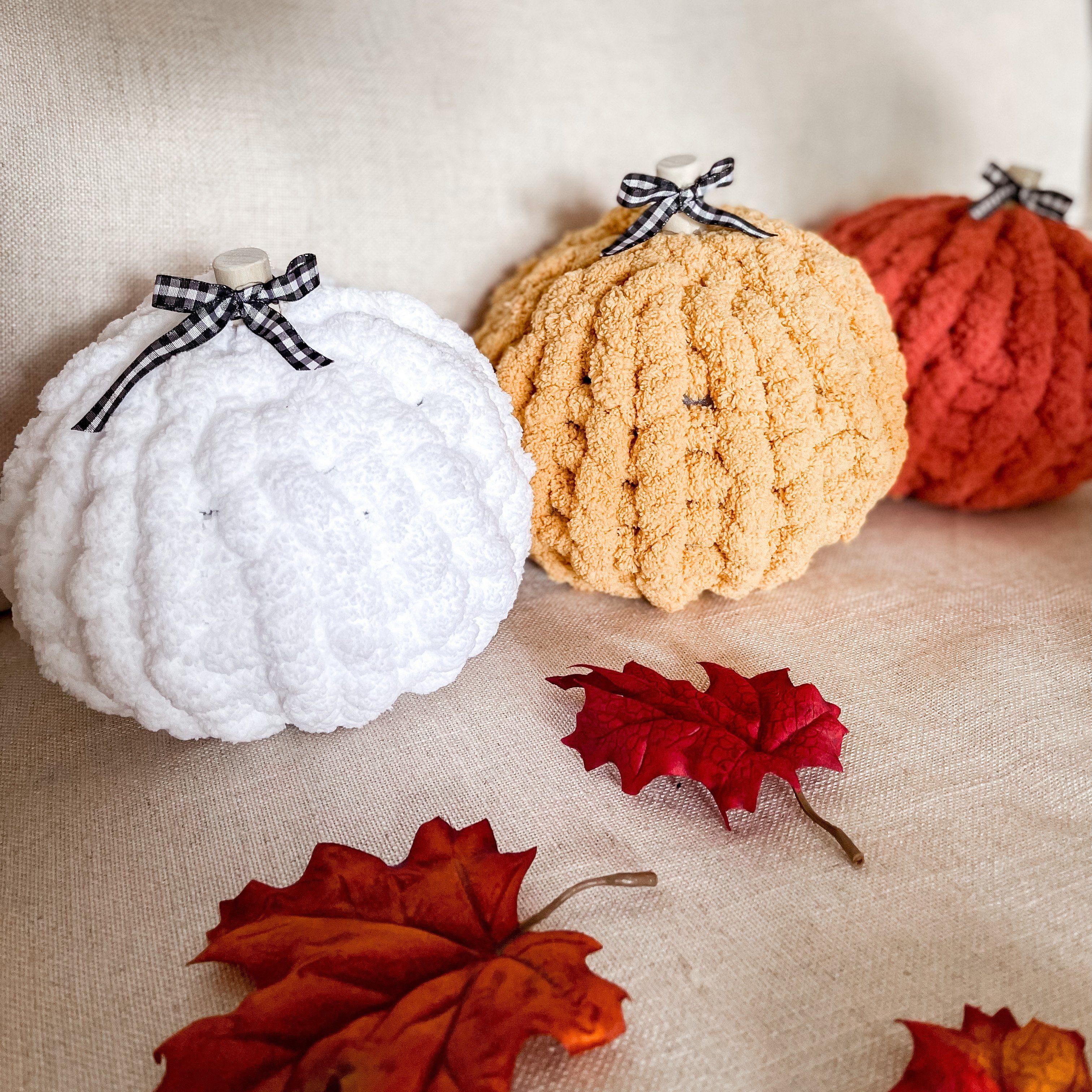 Handmade Vintage/Farmhouse Style Pumpkins - with ribbon - Spa Blue