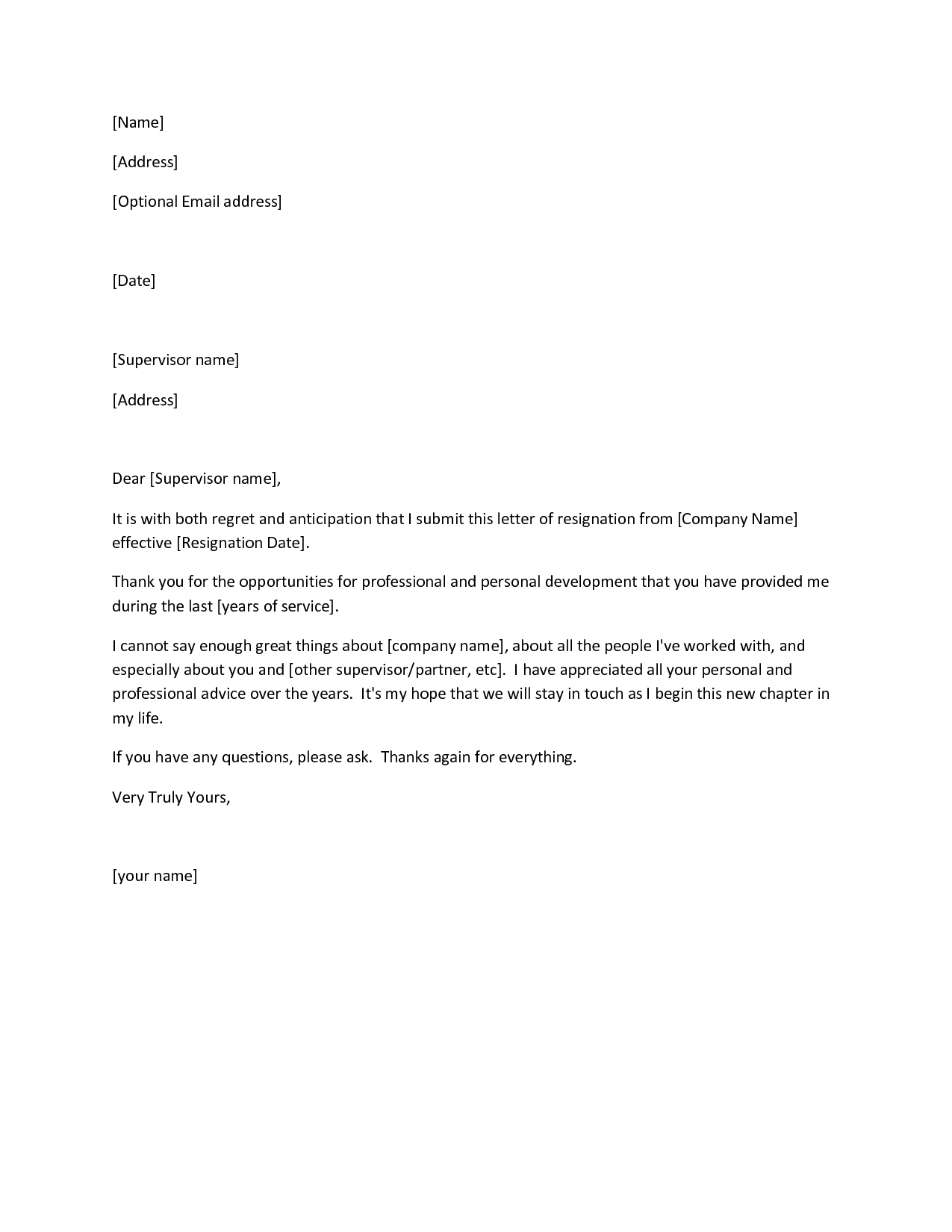 Printable Sample Letter of Resignation Form – Letter Asking for Resignation