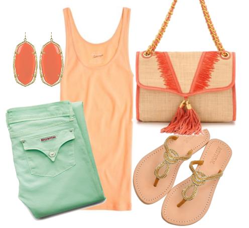 Rebecca Minkoff straw bag, Mystique sandals, Kendra Scott earrings, Hudson mint jeans