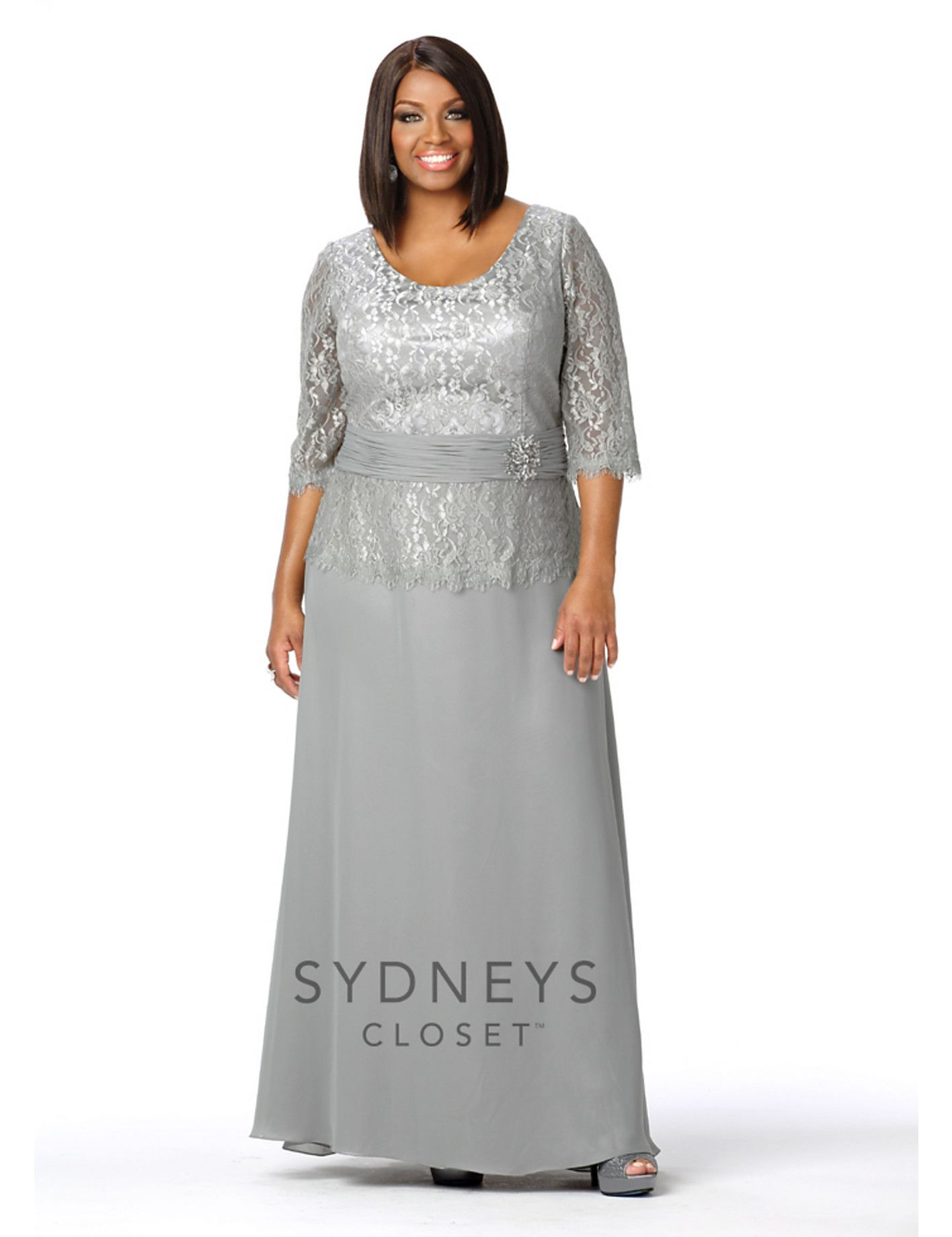 Chic Lace Evening Gown With Sleeves By Sydney S Closet Evening Gowns With Sleeves Plus Size Evening Gown Plus Size Long Dresses