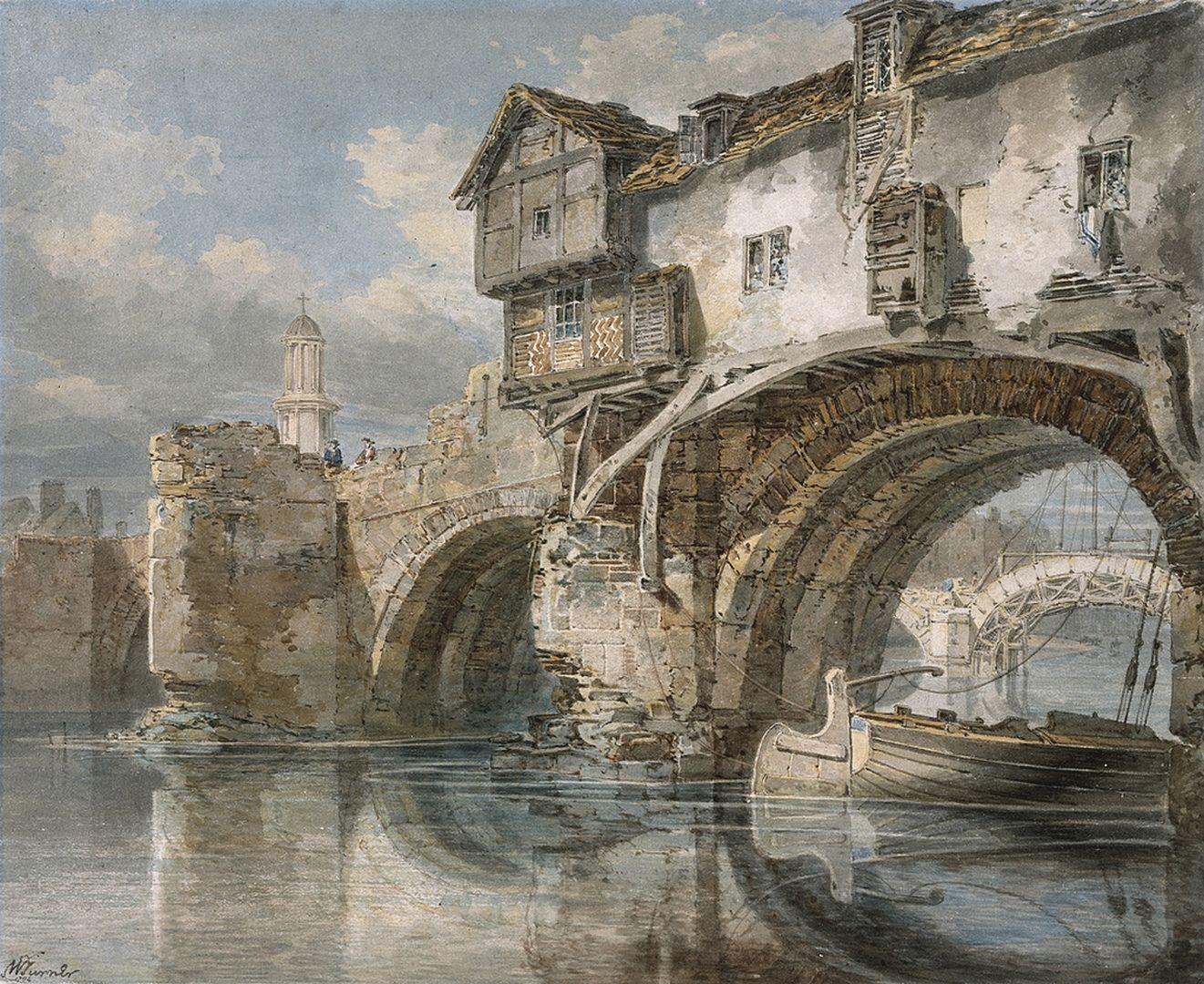 Old Welsh Bridge, Shrewsbury, Shropshire, 1794. Joseph Mallord William Turner.