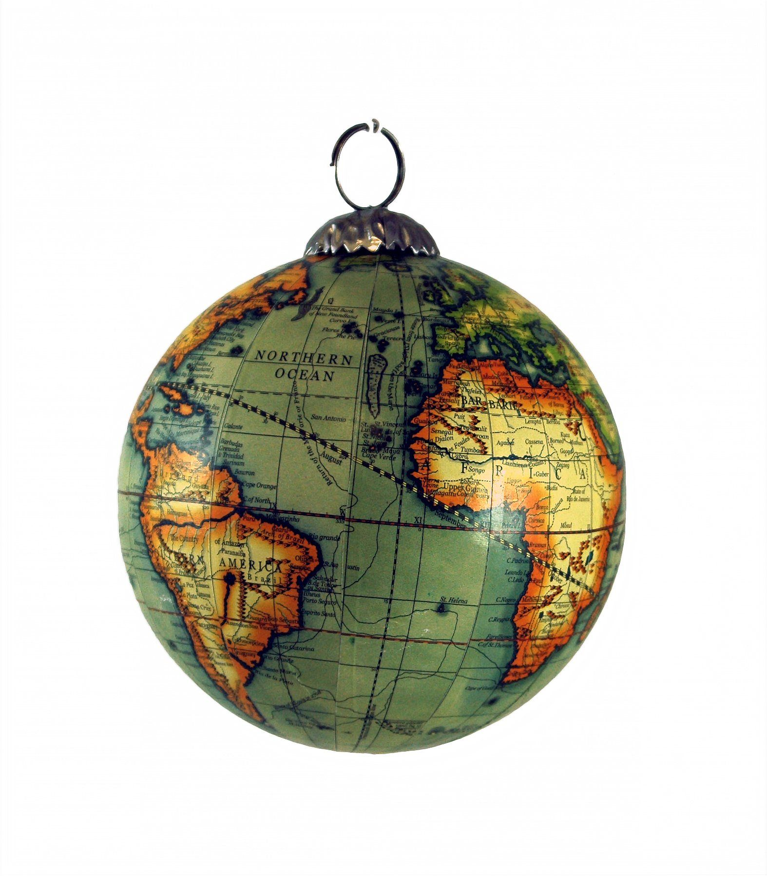 Old World Map Globe Hanging Christmas Tree Ornament