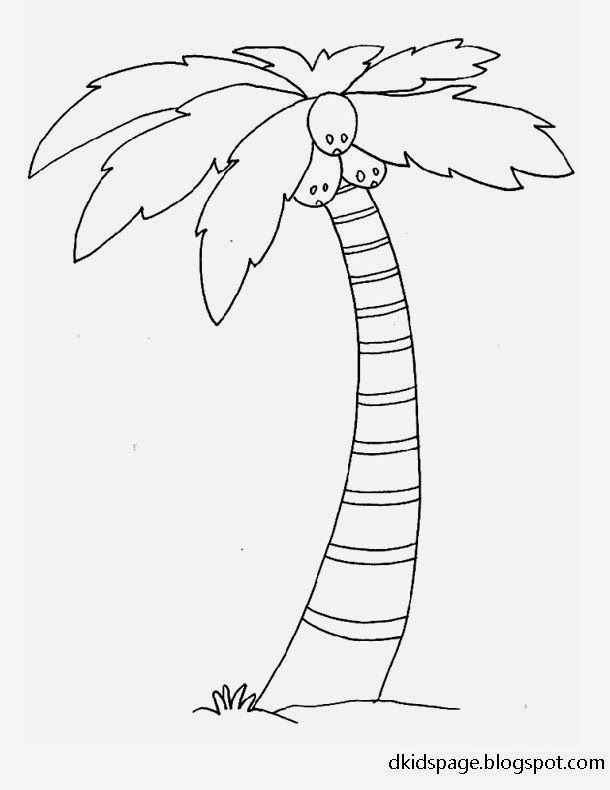 Printable Palm Tree Coloring Pages Coconut Tree Drawing Tree