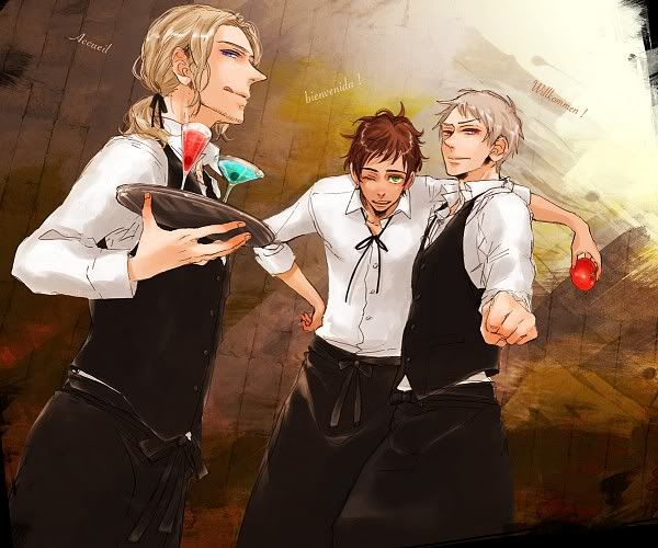 Bad Friend Trio as waiters