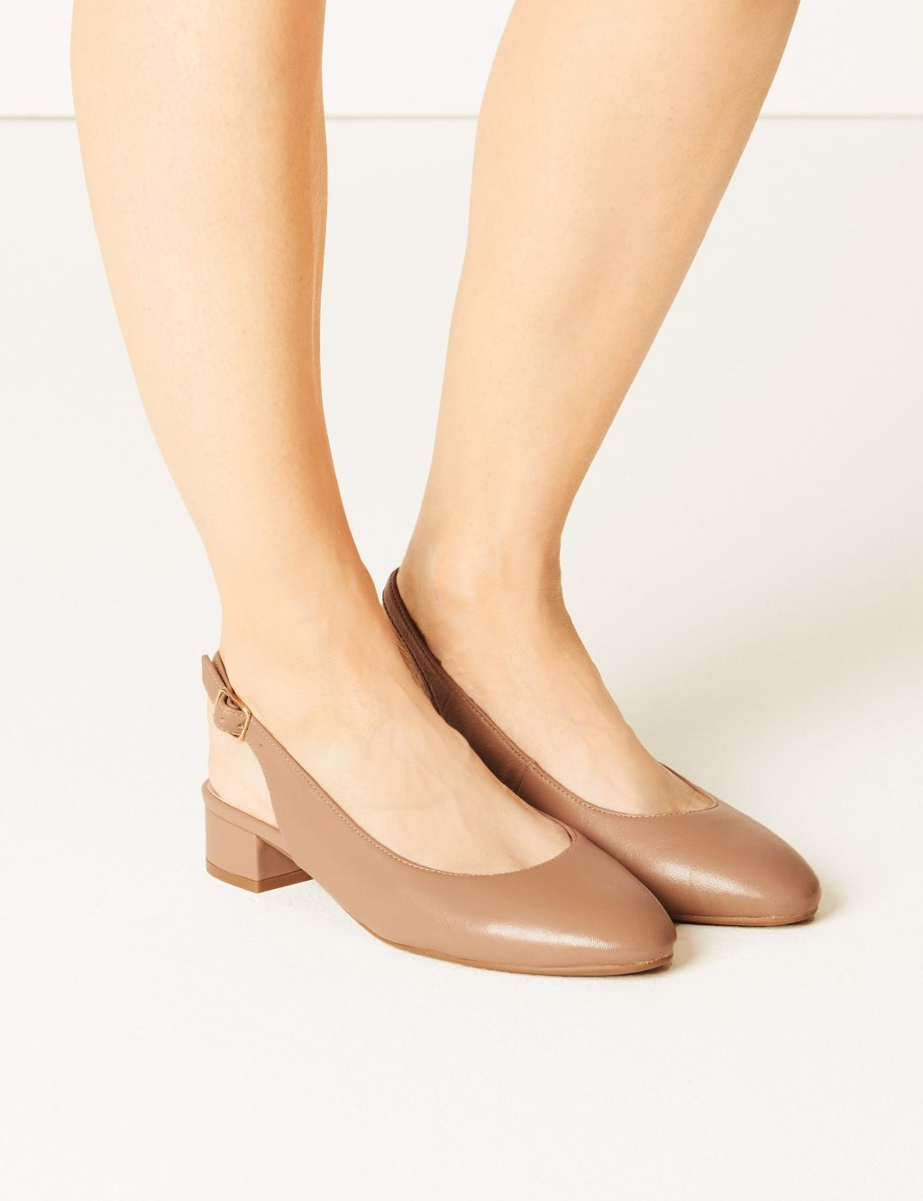 Wide Fit Leather Slingback Shoes | M\u0026S