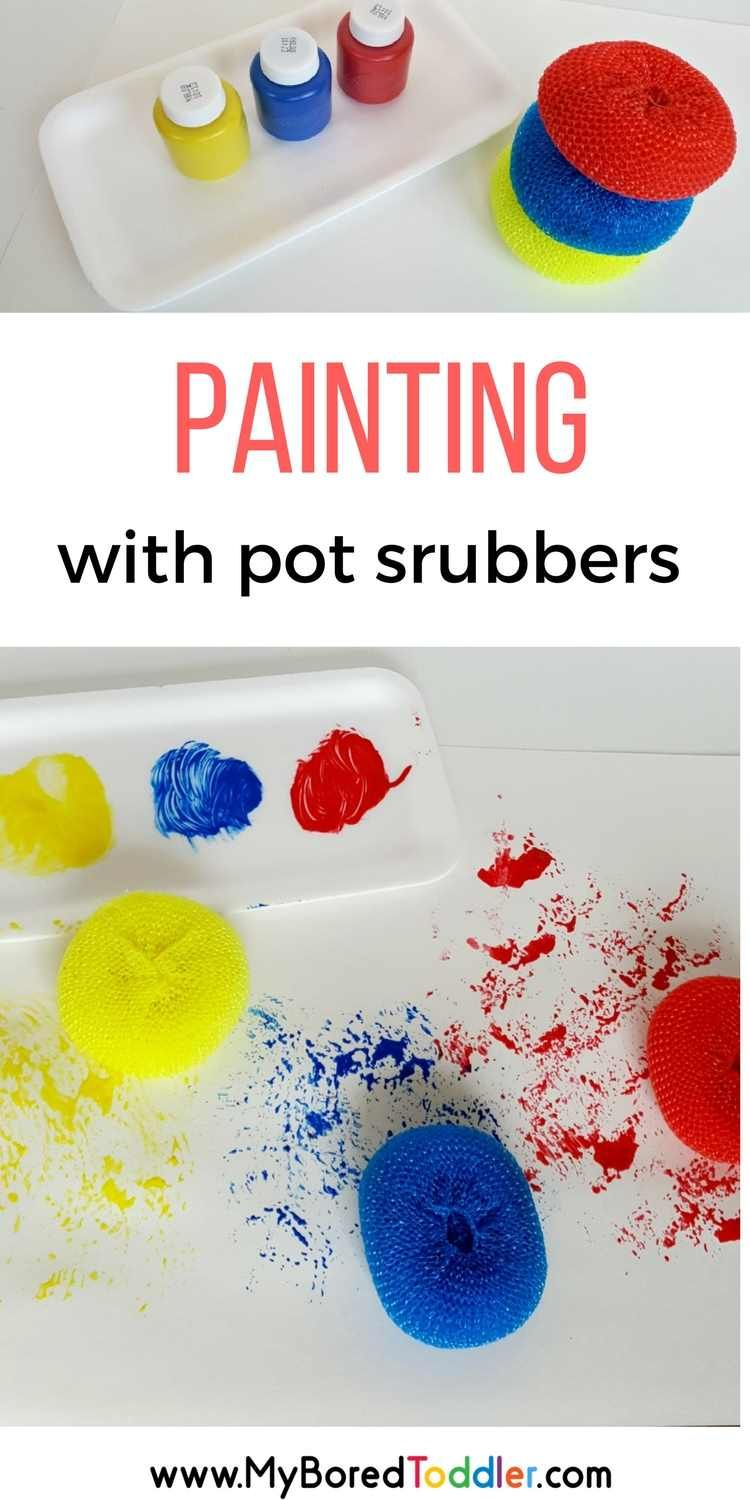 Painting With Pot Scrubbers Pre School Activities Art Activities