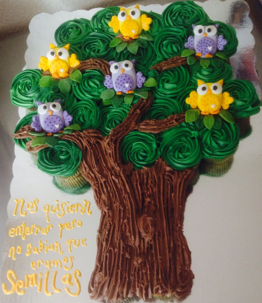 Owls on a tree.....cupcakes cake