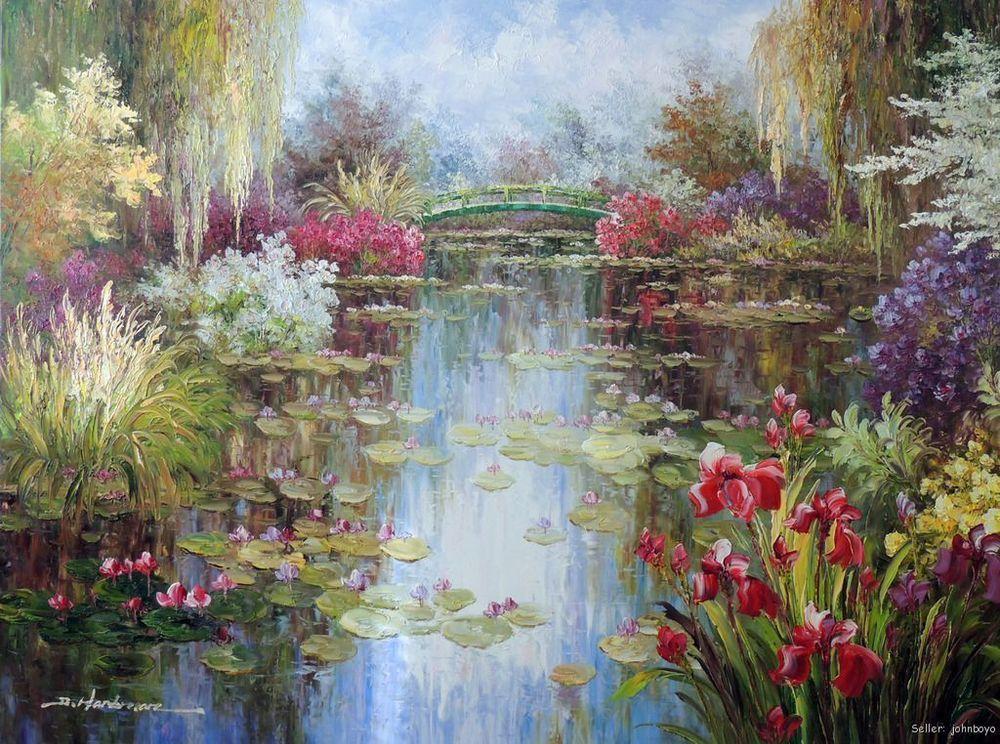 pas cher lily pond fleurs saule pleureur printemps tirage 36x48 sans cadre peinture l 39 huile. Black Bedroom Furniture Sets. Home Design Ideas