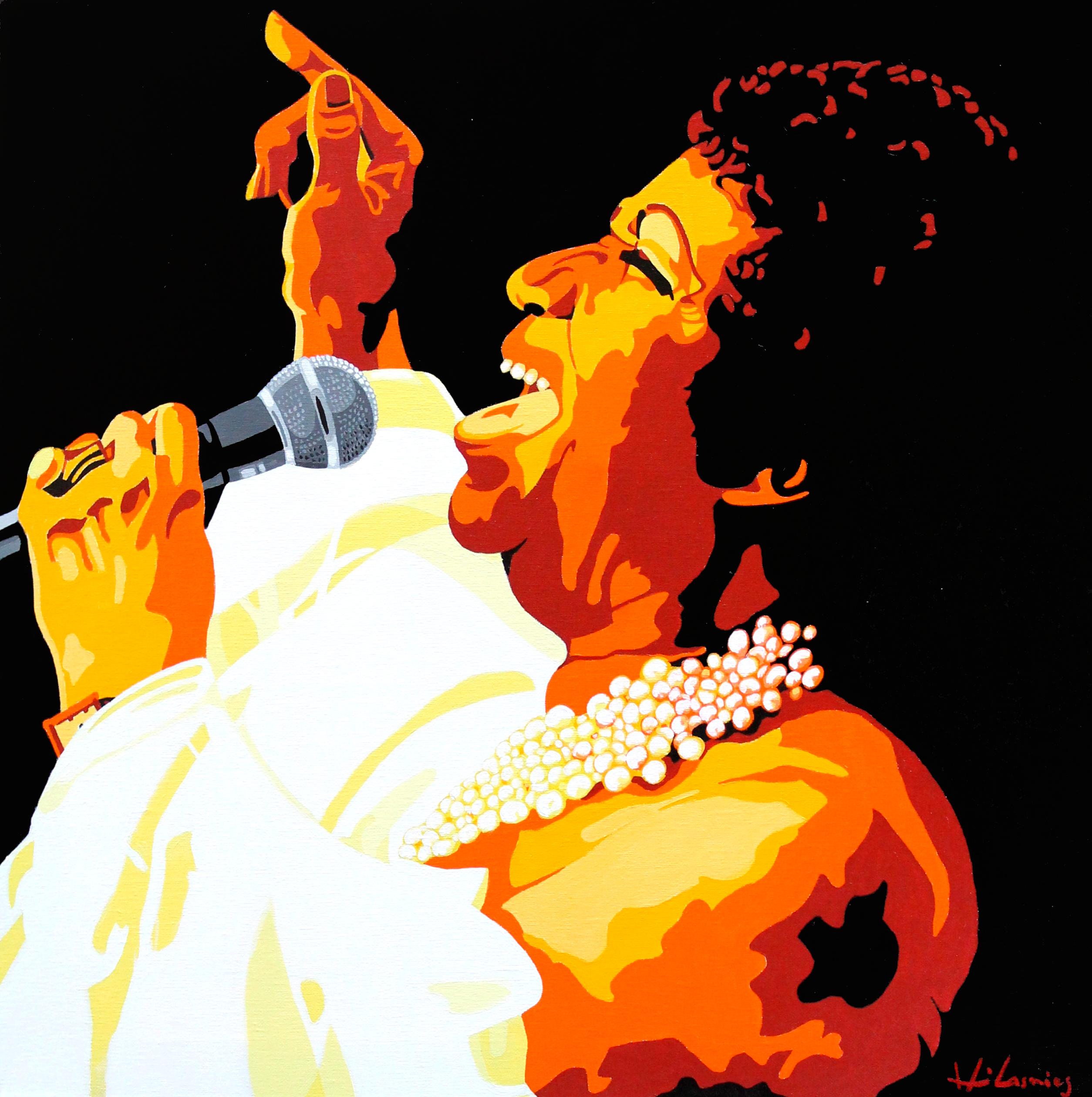 """""""Madame Franklin"""" - Aretha Franklin par Hervé Lasnier. Acrylique sur toile. 60x60 cm  https://www.instagram.com/hervelasnier_artistepeintre/  Aretha Franklin / singer / voice / jazz / couleur / chanteuse / Hervé Lasnier / Art / Music"""