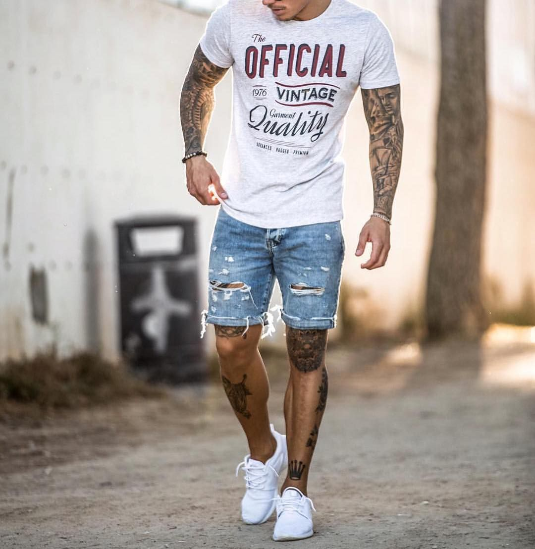 Menu0026#39;s Fashion Instagram Page | Distressed denim shorts Shorts and Printing