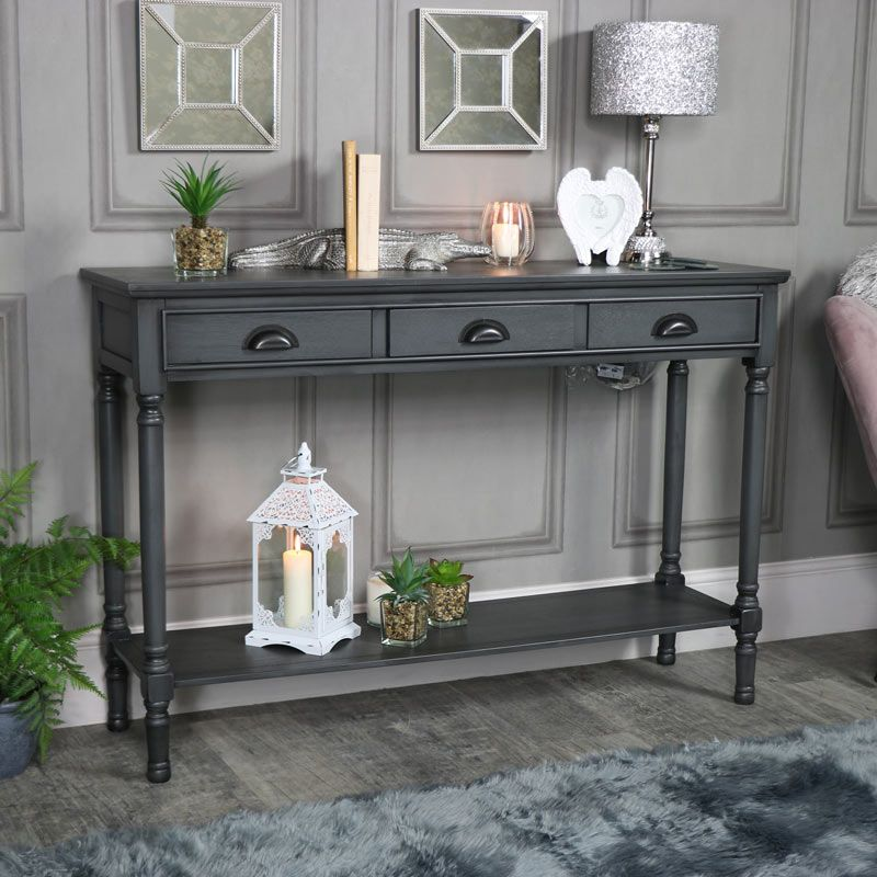 Large 3 Drawer Console Table Dark Grey Lancaster Range Interiordecor Interiordesign Console Table Decorating Dining Room Console Table Gray Console Table