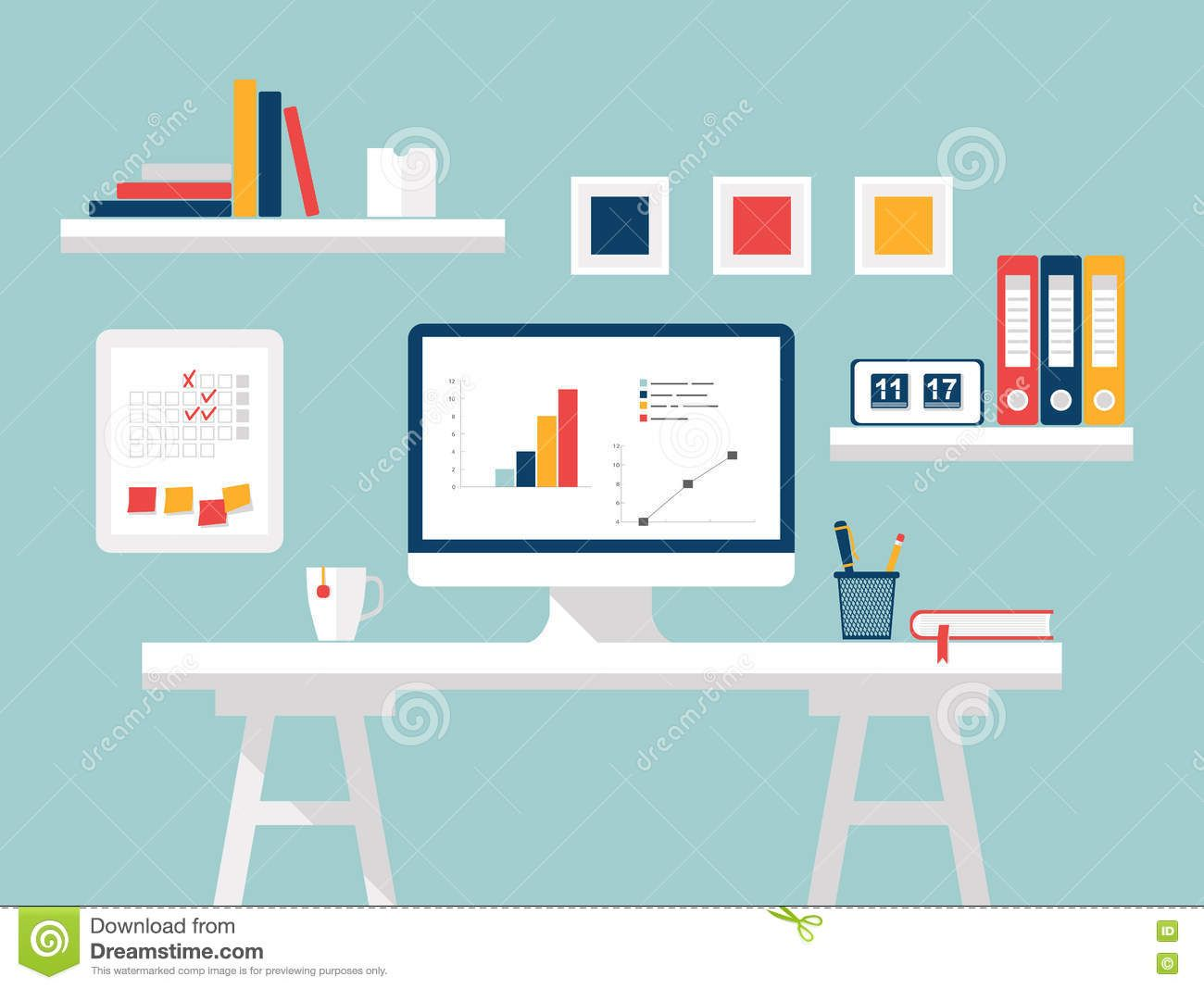 Flat Design Modern Home Office Interior With Designer Desktop Simple Wallpapers Background Hdesktops