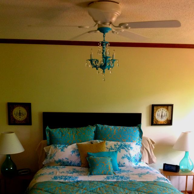 Turquoise Fandelier! Ceiling Fan Chandelier we made!!
