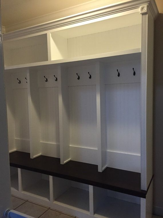 Entryway Locker Drop Zone 78x69 Depth 18 White With Red Oak Stained Espresso Bench 2200 Each