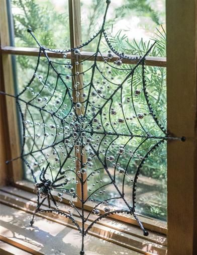 Spider Web Wall Hanging Silver beads and spider cling to sprawling - spider web halloween decoration