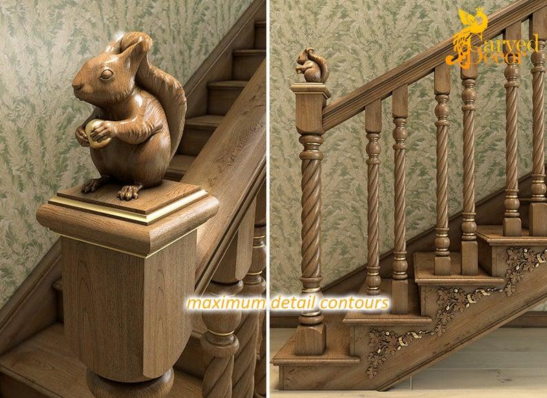 Set Of 10 Unfinished Decorative Carved Newel Post Cap Squirrel Etsy Newel Post Caps Newel Posts Oak Newel Post