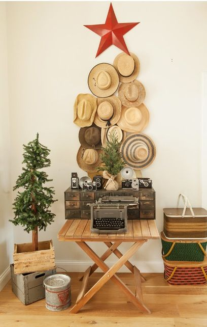 From Houzzhats hung in a tree shape! Love this Pinterest Houzz