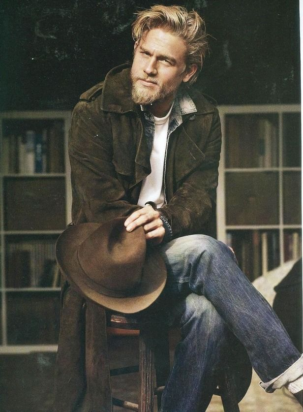 Charlie Hunnam wearing Dark Green Corduroy Trenchcoat, Navy Denim ...
