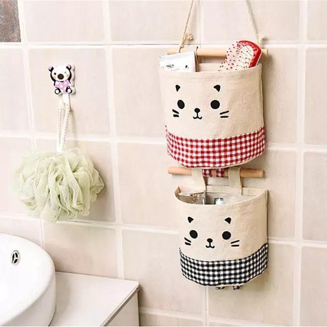 147 30 de DESCUENTOBolsa de almacenamiento de lino de algodón en casa creativa bolsa para colgar en el armario bolsa de pared juguetes cosméticos organizar...