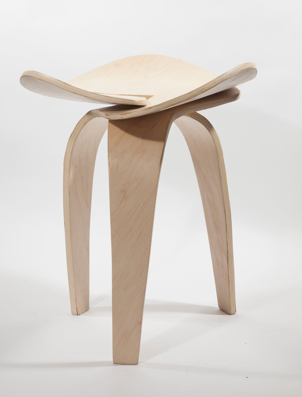 Trio: A Jointless Stool By Andrea Quiros Balma. Made Of Three Symmetrical  Pieces Of Bent Plywood That Connect Together Into A Jointless Form.