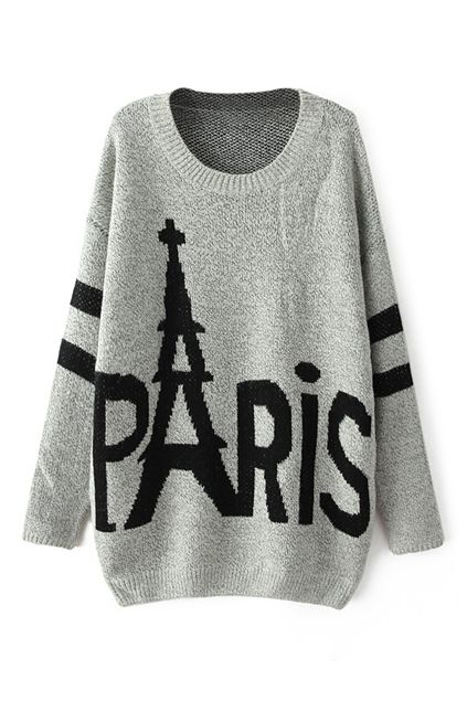 ROMWE | PARIS Knitted Grey Jumper, The Latest Street Fashion